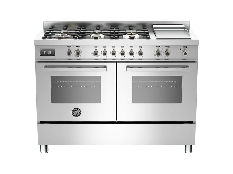 120 cm 6-burner + griddle, Electric Double Oven | Bertazzoni - Stainless
